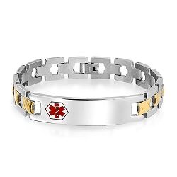 Two Tone Zig Zag Link Stainless Steel Hexagon Medical ID Bracelet