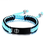 Adjustable Drawstring Medical ID Bracelet - Blue and Black
