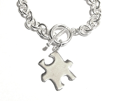 Autism Awareness Big Silver Puzzle Piece Bracelet