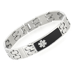 Black and Silver Tone Stainless Steel Medical ID Bracelet