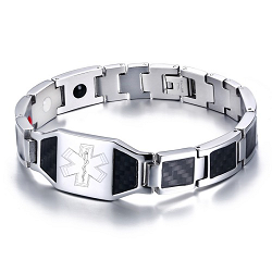 Black Carbon Fiber Magnetic Medical ID Bracelet - Silver Tone