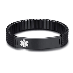 Black Expansion Band Medical ID Bracelet