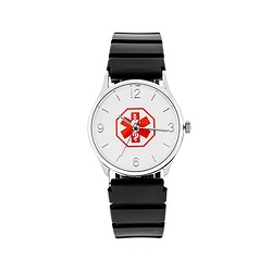 Medical ID Black Rubber Watch