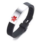 Black Rubber Silicone Stainless Medical ID Bracelet