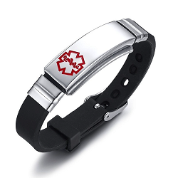 Black Rubber Silicone Stainless Medical ID Bracelet Plus