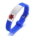 Blue Rubber Silicone Stainless Medical ID Bracelet