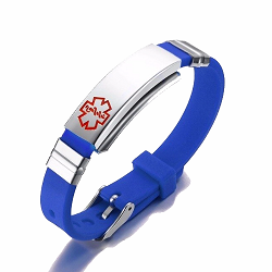 Blue Rubber Silicone Stainless Medical ID Bracelet Plus