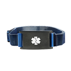 Blue and Black Tone Magnetic Closure Medical ID Bracelet