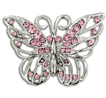 Breast Cancer Awareness Pink Rhinestone Butterfly Pin