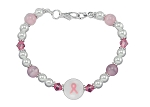 Breast Cancer Awareness Pink Ribbon Beaded Silver Bracelet