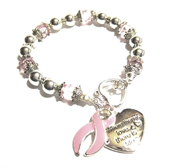 Breast Cancer Awareness Silver Ribbon and Heart Charm Bracelet