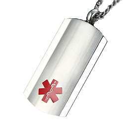 Brushed and Polished Medical ID Dog Tag Pendant Necklace