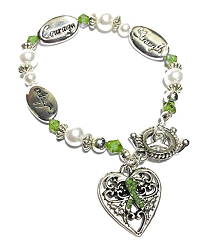 Cerebral Palsy Awareness Silver Hope Strength Courage Charm Bracelet