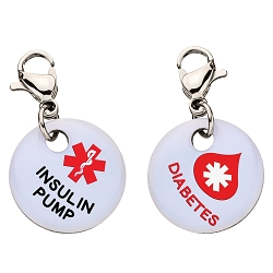Clip On Aluminum Medical ID Charm - DIABETES INSULIN PUMP Blood Drop