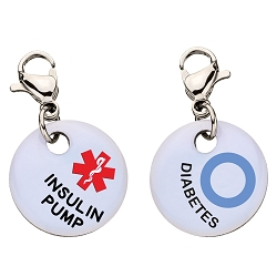 Clip On Aluminum Medical ID Charm - DIABETES INSULIN PUMP Blue Circle