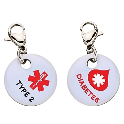 Clip On Aluminum Medical ID Charm - TYPE 2 DIABETES Blood Drop