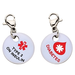Clip On Aluminum Medical ID Charm - TYPE 2 DIABETES ON INSULIN