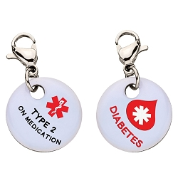 Clip On Aluminum Medical ID Charm - TYPE 2 DIABETES ON MEDICATION