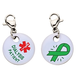 Clip On Aluminum Medical ID Charm - DIALYSIS PATIENT