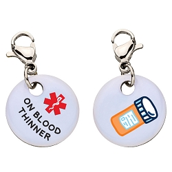 Clip On Aluminum Medical ID Charm - ON BLOOD THINNER
