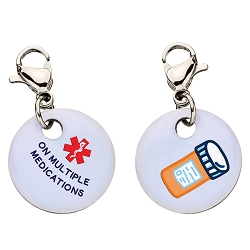 Clip On Aluminum Medical ID Charm - ON MULTIPLE MEDICATIONS