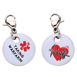 Clip On Aluminum Medical ID Charm - TAKING WARFARIN