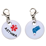Clip On Aluminum Medical ID Charm - ASTHMA
