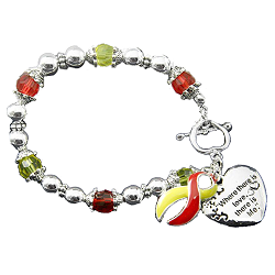 Coronavirus COVID-19 Awareness Silver Ribbon and Heart Charm Bracelet