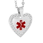 Stainless Steel Medical ID Crystal Pendant Necklace - Heart