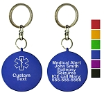 Custom Medical ID Key Chain - Circle - TWO PACK
