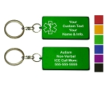Custom Medical ID Key Chain - Rectangle - TWO PACK