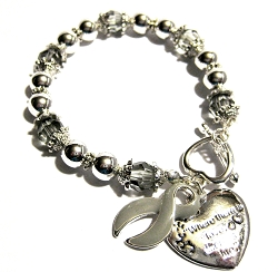 Diabetes Awareness Silver Ribbon and Heart Charm Bracelet