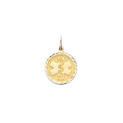 Diamond Cut Medical ID Pendant in 10K Yellow Gold - 12mm