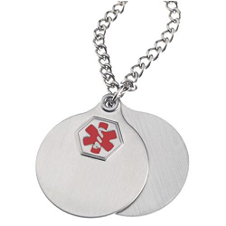 Stainless Steel Medical ID Double Disc Pendant Necklace