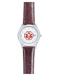 Women's Medical ID Watch with Brown Leather Band - Croco Grain