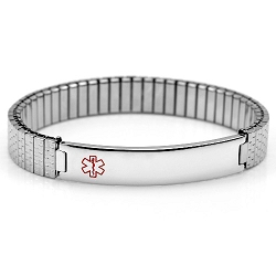 Stainless Steel Expansion Band Medical ID Bracelet - Thin Profile