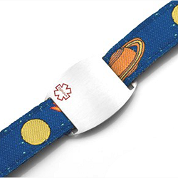 Kids Stainless Steel Medical ID Bracelet with Space Mission Sport Strap