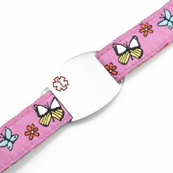 Kids Stainless Steel Medical ID Bracelet with Butterfly Sport Strap