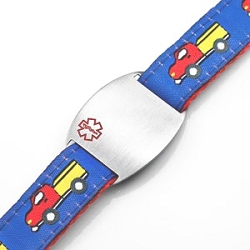 Kids Stainless Steel Medical ID Bracelet with Trucks Sport Strap