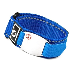 Stainless Steel Medical ID Bracelet with Blue Fast Wrap Sport Strap