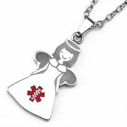 Angel Stainless Steel Medical ID Pendant