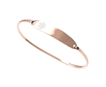 Stainless Steel Medical ID Bangle Bracelet - Rose Gold Plated
