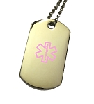 Stainless Steel Dog Tag Pendant with Hot Pink Medical ID Symbol