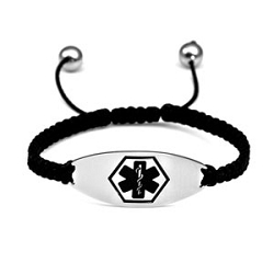 Macrame Satin Cord Stainless Steel Medical ID Bracelet - Black