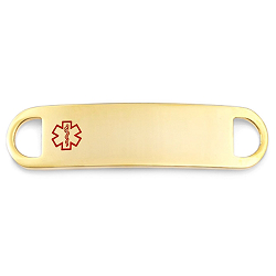 Medical ID Tag for Custom Bracelets - Gold Plated Stainless Steel - 1 1/2 Inch Length