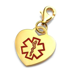 Clip On Stainless Steel Medical ID Charm Pendant - Gold Plate Heart