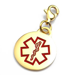 Clip On Stainless Steel Medical ID Charm Pendant - Gold Plate Round