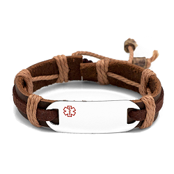 Stainless Steel Medical ID Bracelet with Brown Tone Leather and Hemp Strap