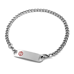 Stainless Steel Medical ID Anklet with Curb Chain