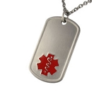 Titanium Dog Tag Pendant with Red Medical ID Symbol